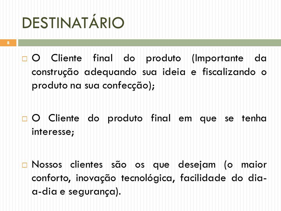 DESTINATÁRIO O Cliente final do produto (Importante da construção adequando sua ideia e fiscalizando o produto na sua confecção);