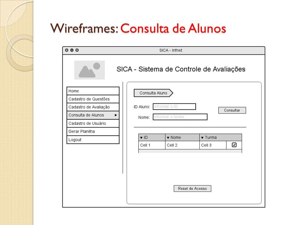Wireframes: Consulta de Alunos