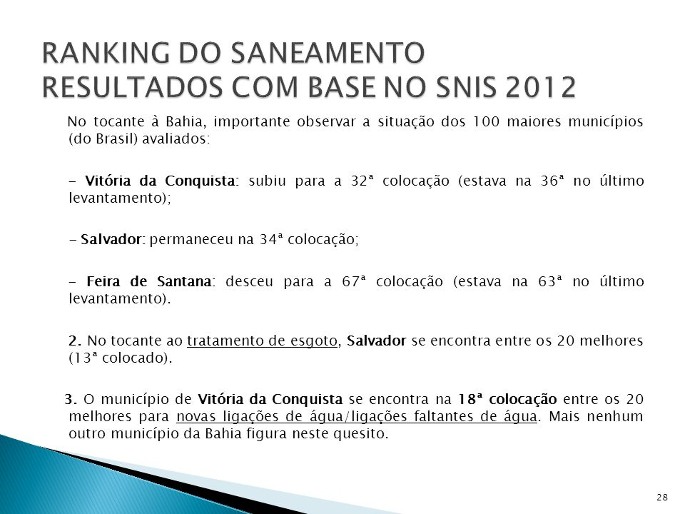 RANKING DO SANEAMENTO RESULTADOS COM BASE NO SNIS 2012