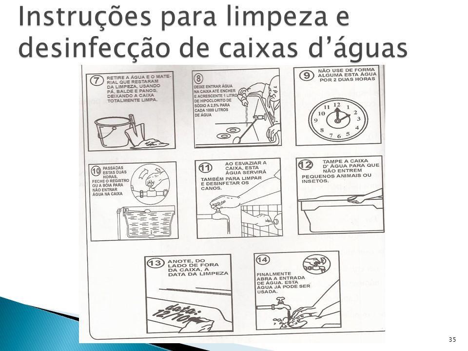 Instruções para limpeza e desinfecção de caixas d'águas