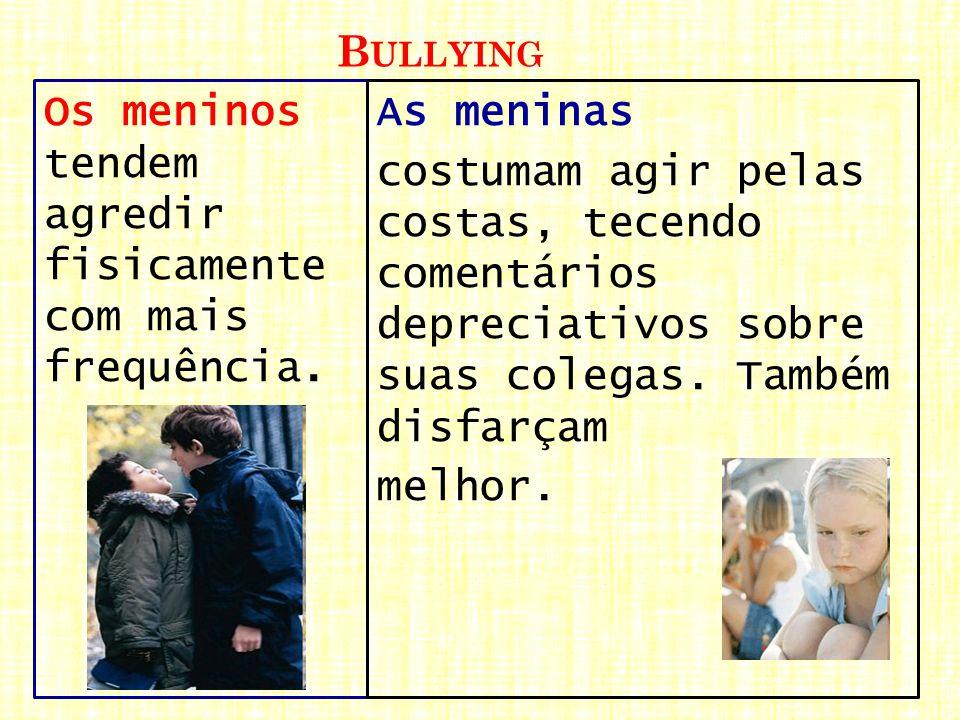 Bullying Os meninos tendem agredir fisicamente com mais frequência. As meninas.