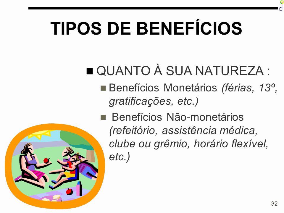TIPOS DE BENEFÍCIOS QUANTO À SUA NATUREZA :