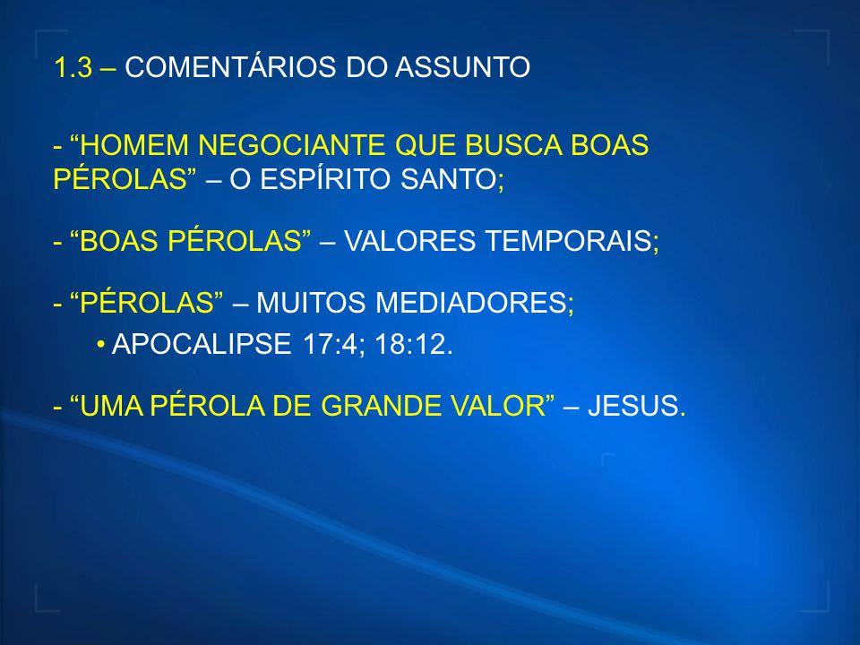 1.3 – COMENTÁRIOS DO ASSUNTO