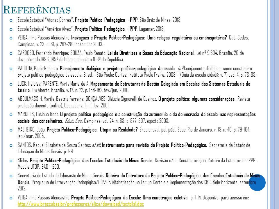 Referências Escola Estadual Afonso Correa . Projeto Político Pedagógico – PPP. São Brás de Minas, 2013.