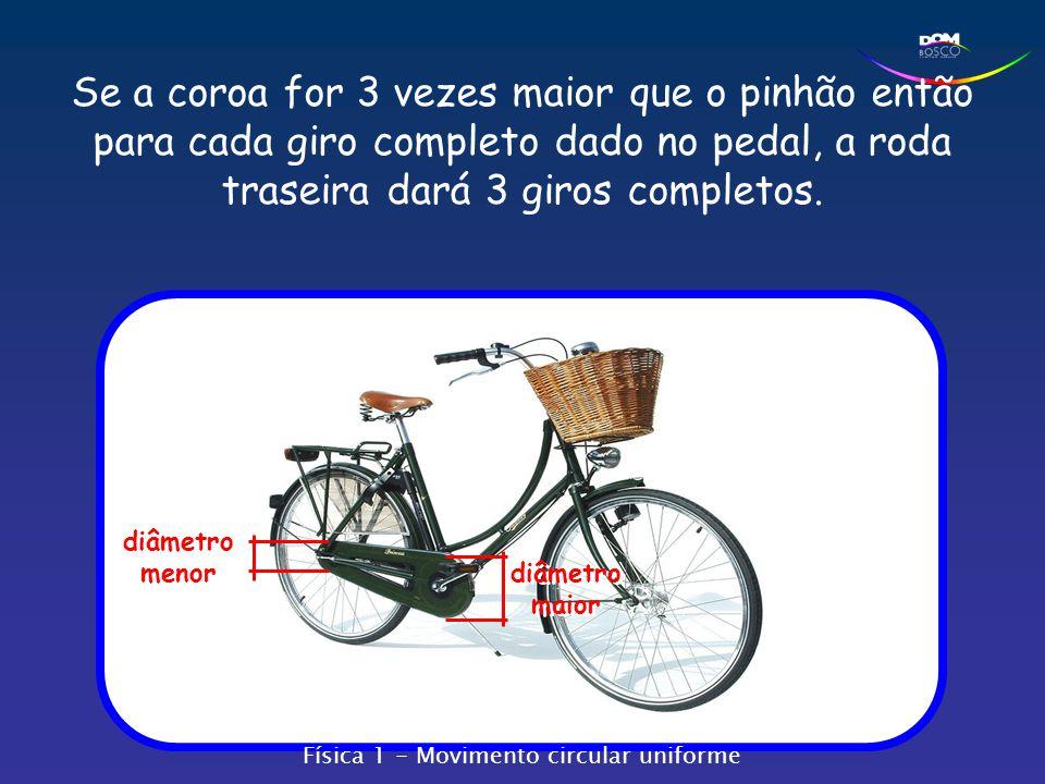 Se a coroa for 3 vezes maior que o pinhão então para cada giro completo dado no pedal, a roda traseira dará 3 giros completos.