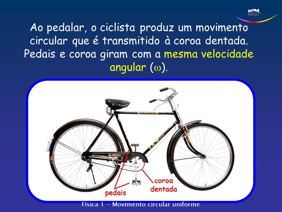 Ao pedalar, o ciclista produz um movimento circular que é transmitido à coroa dentada. Pedais e coroa giram com a mesma velocidade angular (w).