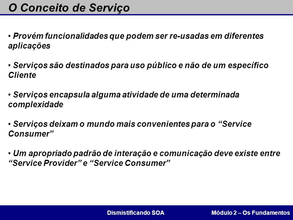 O Conceito de Serviço Provém funcionalidades que podem ser re-usadas em diferentes aplicações.