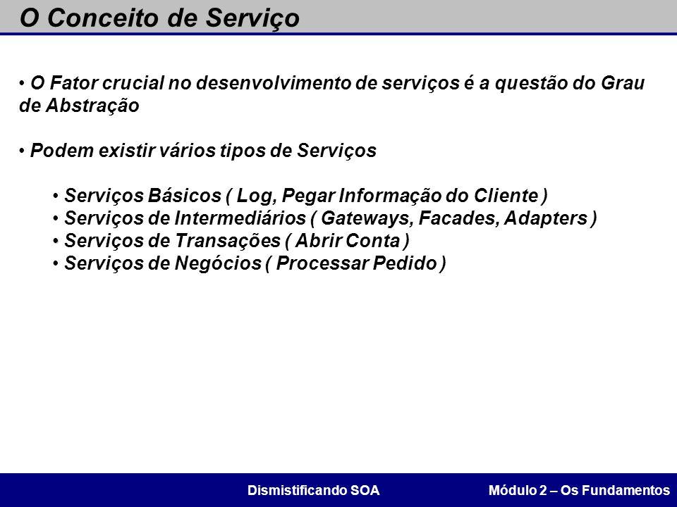 O Conceito de Serviço O Fator crucial no desenvolvimento de serviços é a questão do Grau de Abstração.