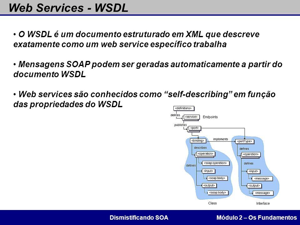 Web Services - WSDL O WSDL é um documento estruturado em XML que descreve exatamente como um web service específico trabalha.