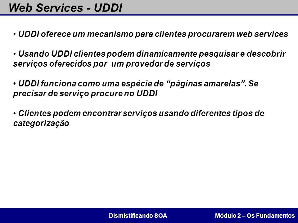 Web Services - UDDI UDDI oferece um mecanismo para clientes procurarem web services.