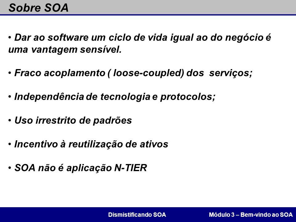Sobre SOA Dar ao software um ciclo de vida igual ao do negócio é uma vantagem sensível. Fraco acoplamento ( loose-coupled) dos serviços;