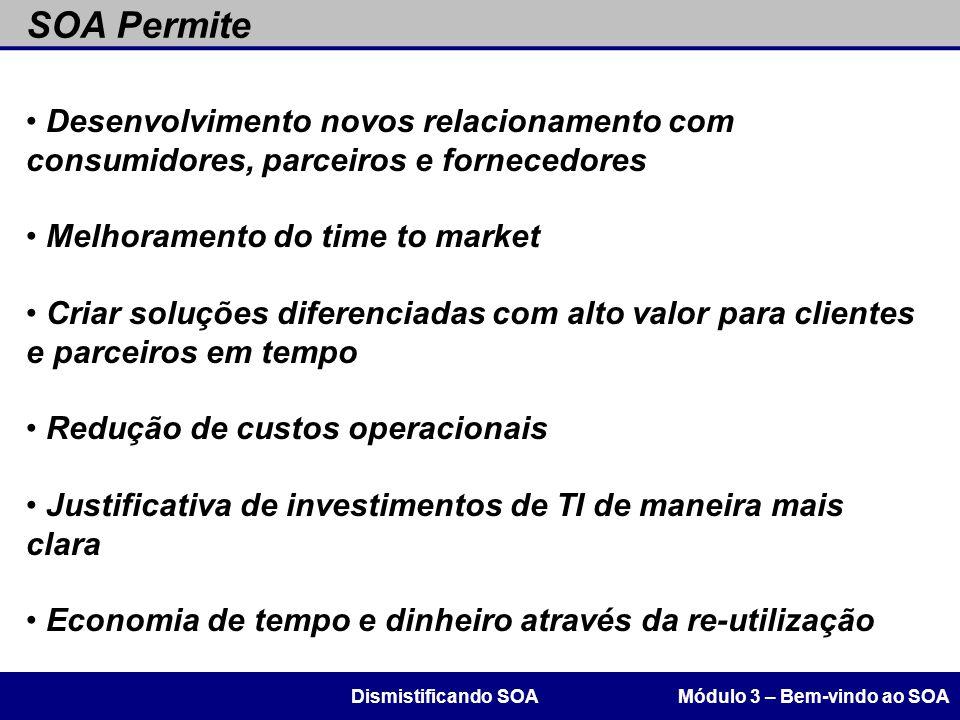 SOA Permite Desenvolvimento novos relacionamento com consumidores, parceiros e fornecedores. Melhoramento do time to market.