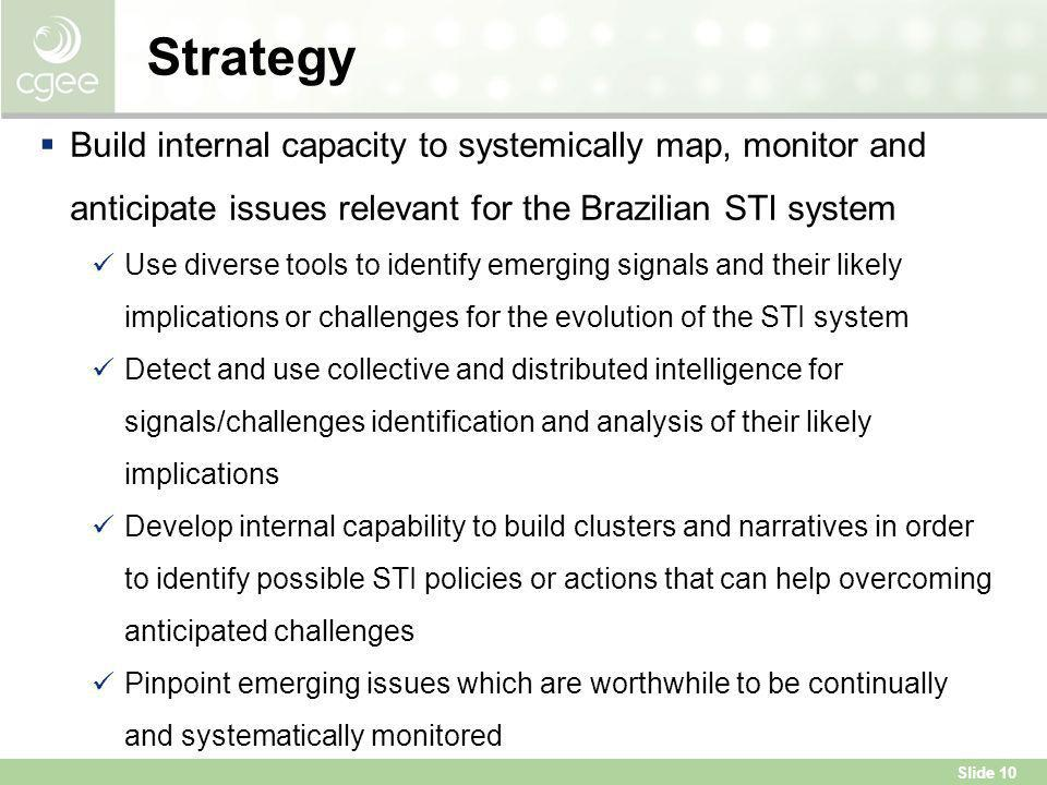 Strategy Build internal capacity to systemically map, monitor and anticipate issues relevant for the Brazilian STI system.