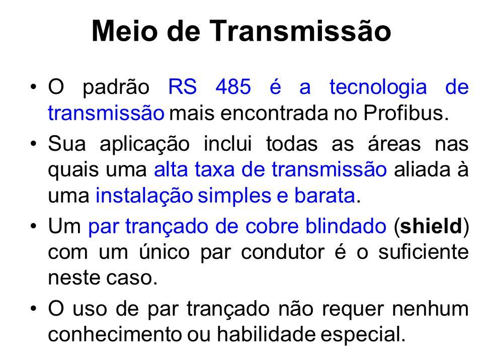 Meio de Transmissão O padrão RS 485 é a tecnologia de transmissão mais encontrada no Profibus.
