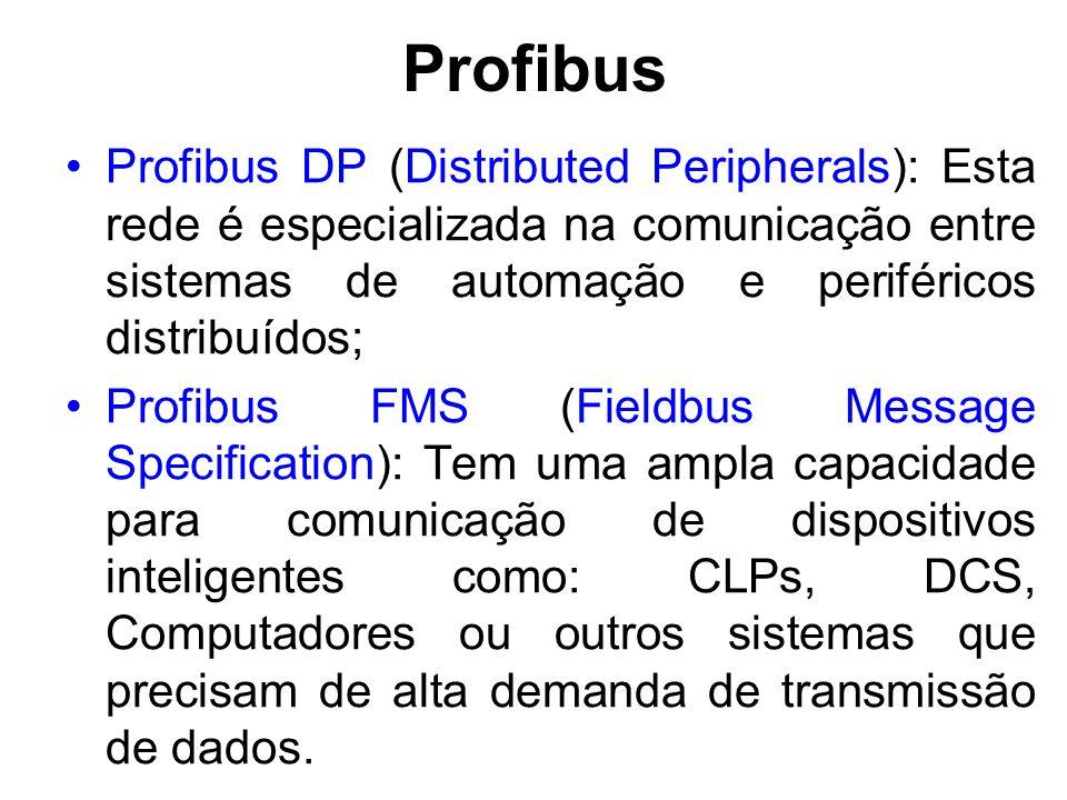 Profibus Profibus DP (Distributed Peripherals): Esta rede é especializada na comunicação entre sistemas de automação e periféricos distribuídos;