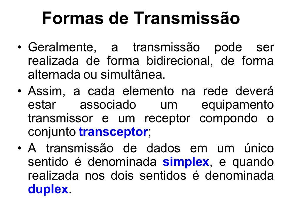 Formas de Transmissão Geralmente, a transmissão pode ser realizada de forma bidirecional, de forma alternada ou simultânea.