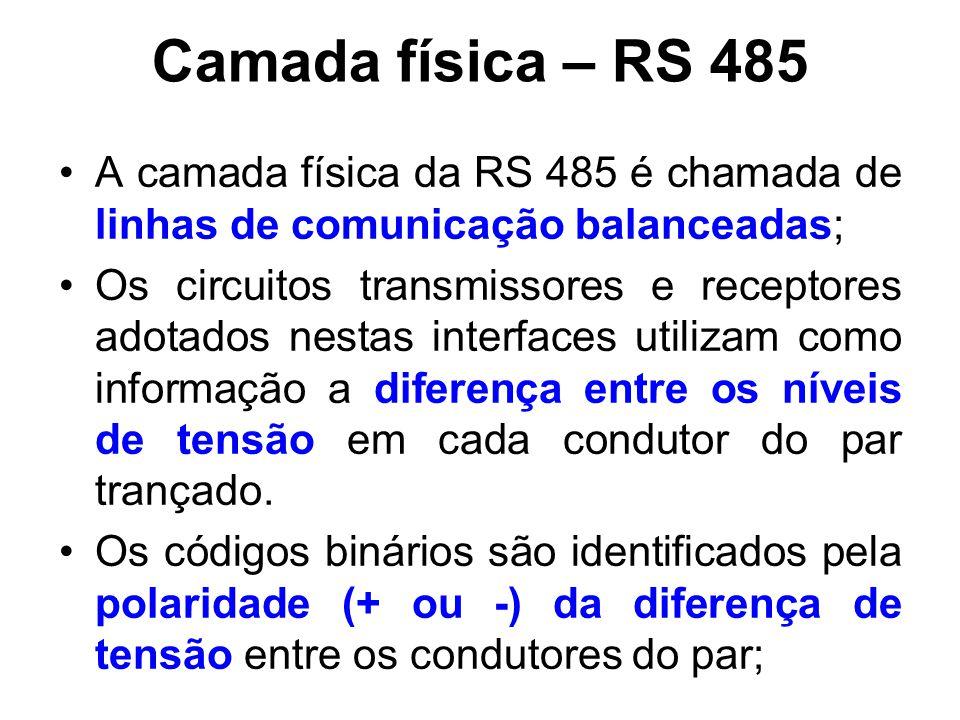 Camada física – RS 485 A camada física da RS 485 é chamada de linhas de comunicação balanceadas;