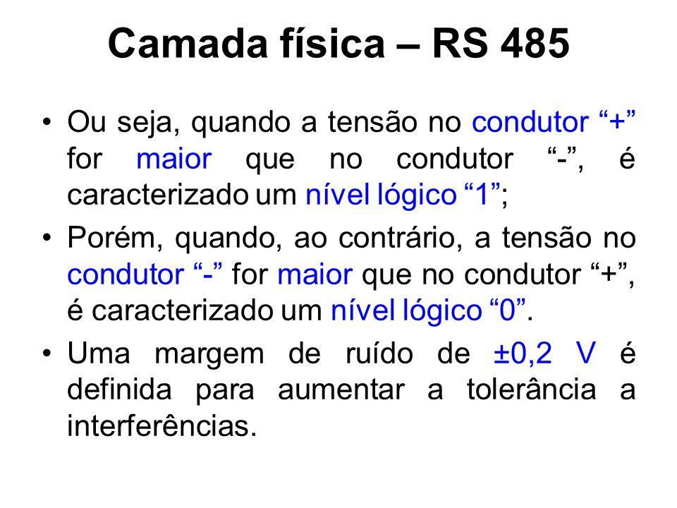 Camada física – RS 485 Ou seja, quando a tensão no condutor + for maior que no condutor - , é caracterizado um nível lógico 1 ;