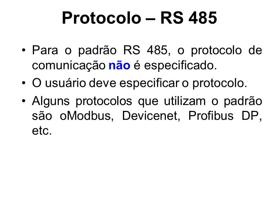 Protocolo – RS 485 Para o padrão RS 485, o protocolo de comunicação não é especificado. O usuário deve especificar o protocolo.