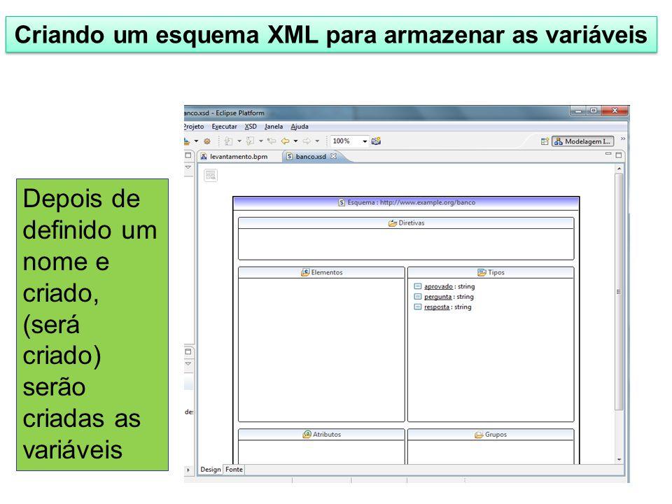 Criando um esquema XML para armazenar as variáveis