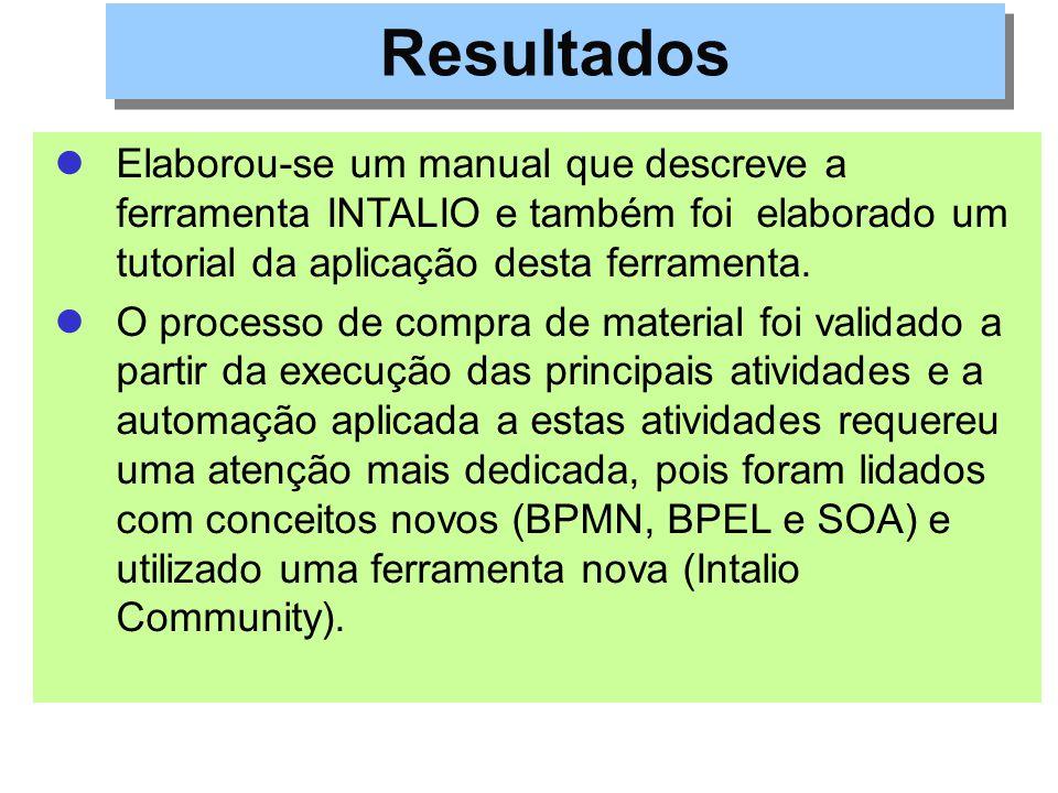 Resultados Elaborou-se um manual que descreve a ferramenta INTALIO e também foi elaborado um tutorial da aplicação desta ferramenta.