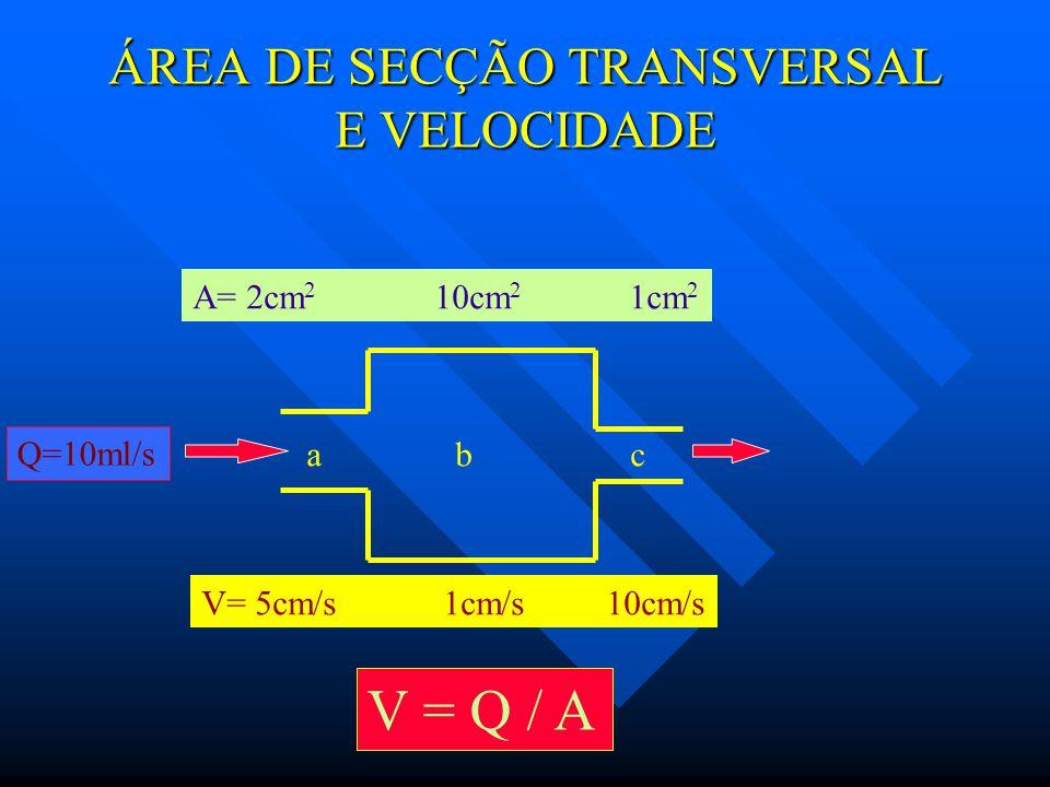 ÁREA DE SECÇÃO TRANSVERSAL E VELOCIDADE
