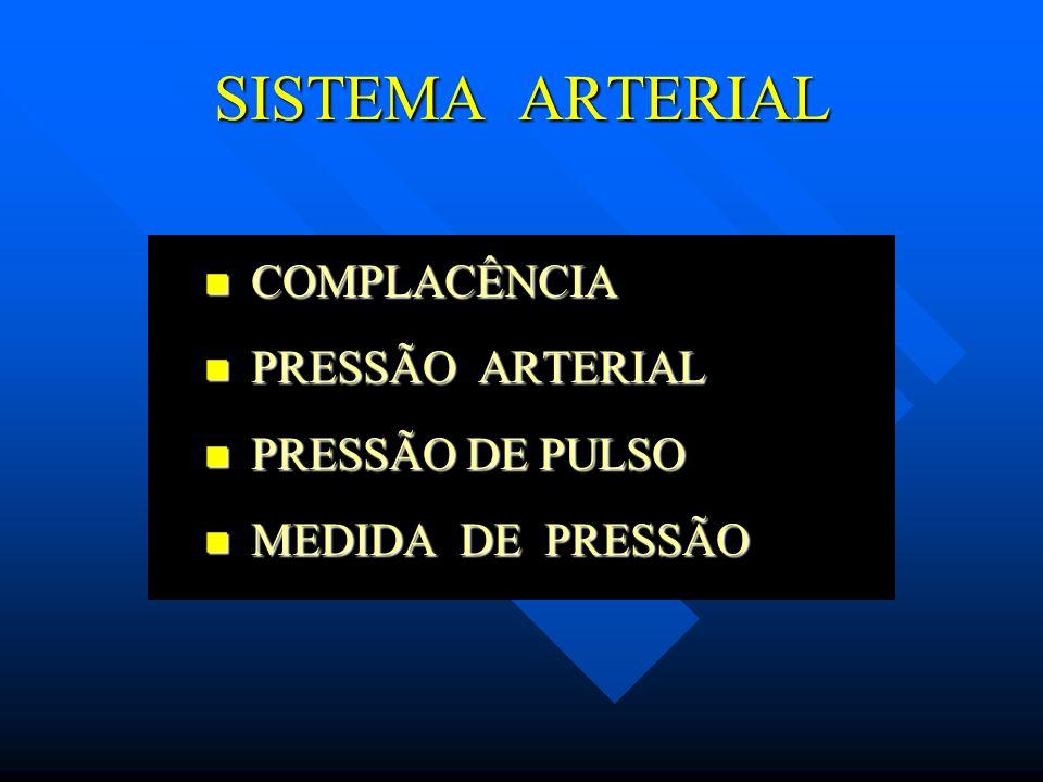 SISTEMA ARTERIAL COMPLACÊNCIA PRESSÃO ARTERIAL PRESSÃO DE PULSO
