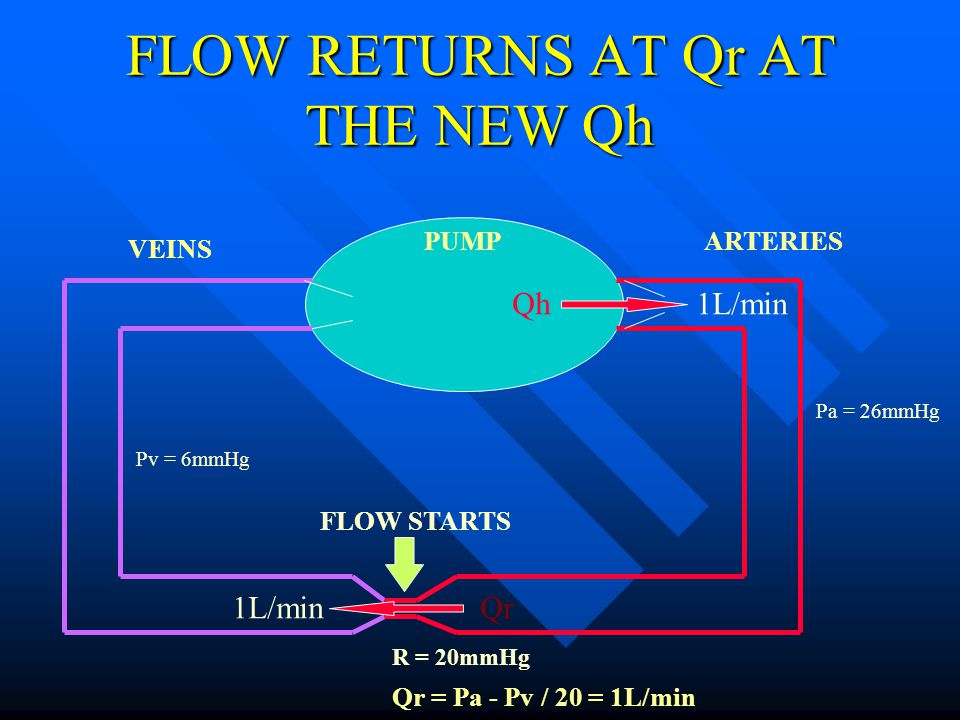 FLOW RETURNS AT Qr AT THE NEW Qh