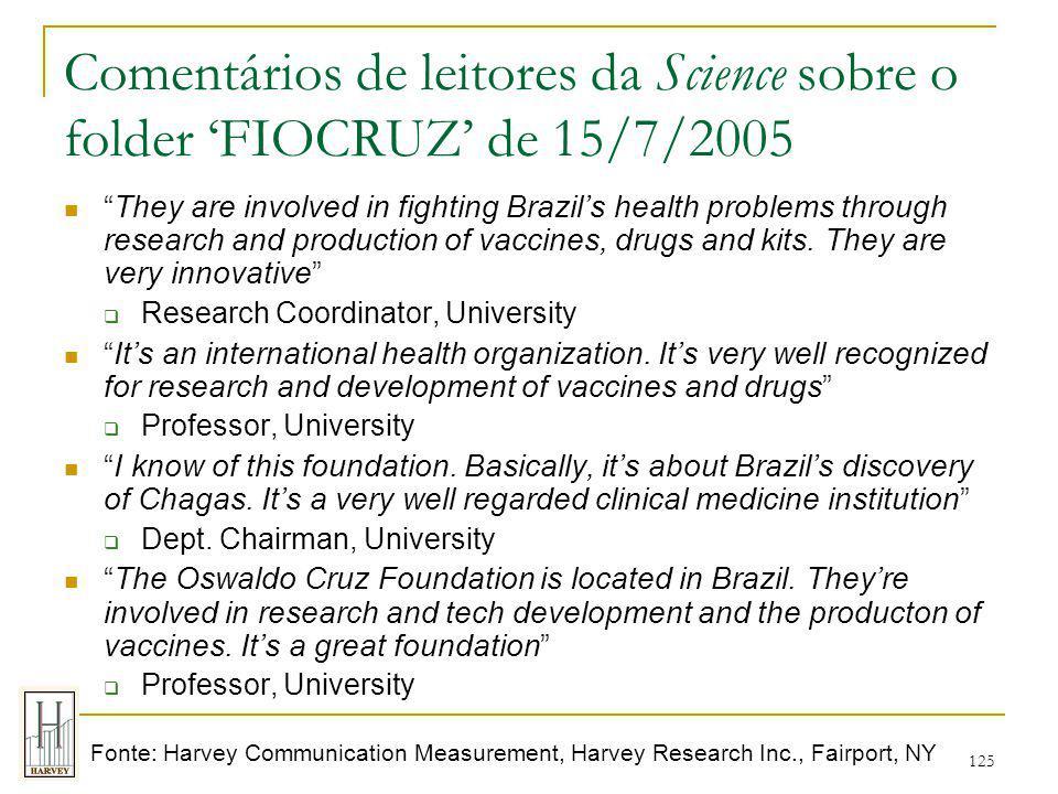 Comentários de leitores da Science sobre o folder 'FIOCRUZ' de 15/7/2005