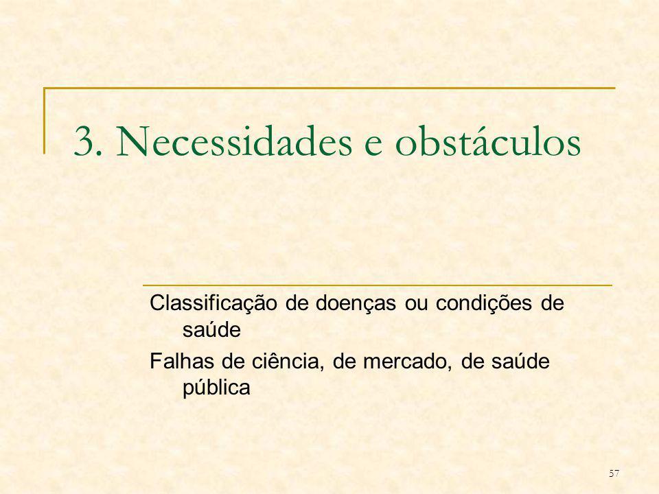 3. Necessidades e obstáculos
