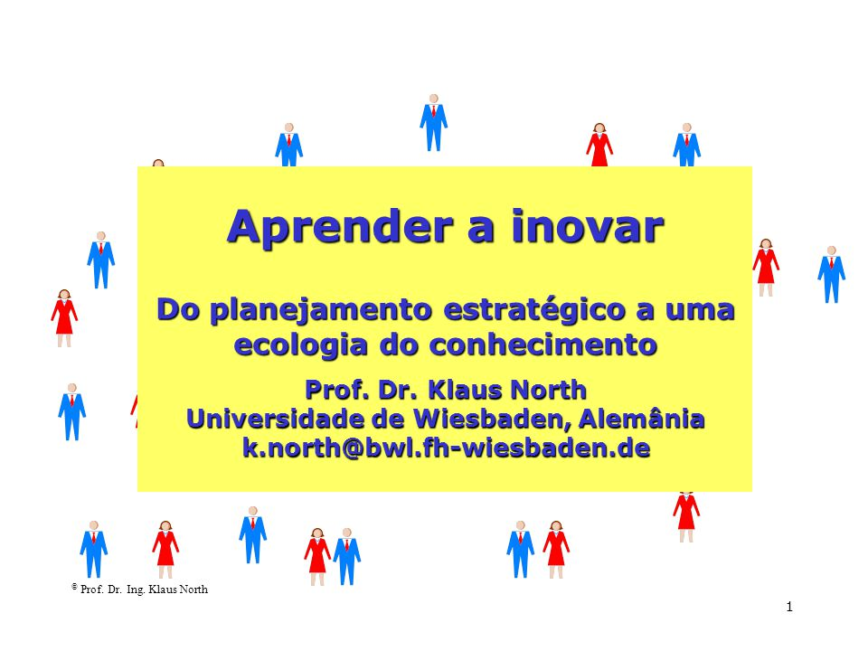 Aprender a inovar Do planejamento estratégico a uma ecologia do conhecimento. Prof. Dr. Klaus North.