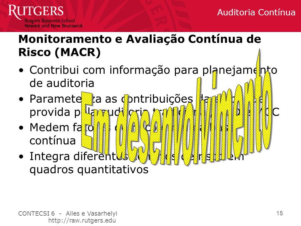 Monitoramento e Avaliação Contínua de Risco (MACR)
