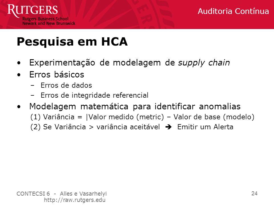 Pesquisa em HCA Experimentação de modelagem de supply chain