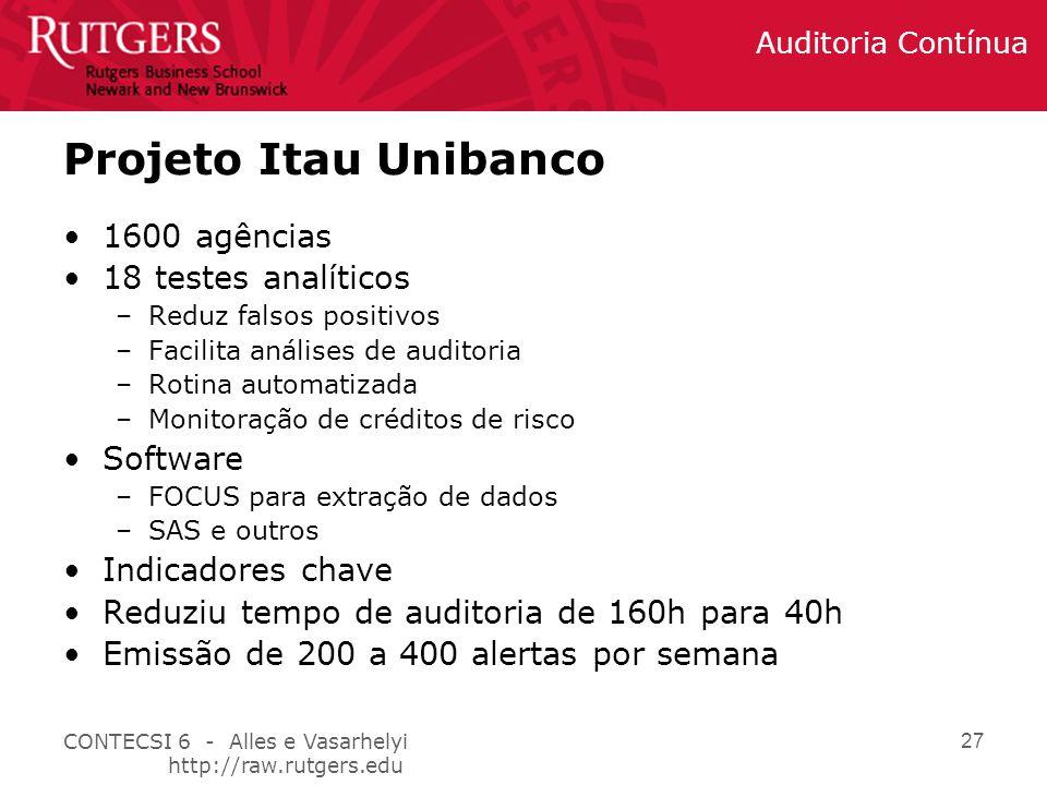 Projeto Itau Unibanco 1600 agências 18 testes analíticos Software