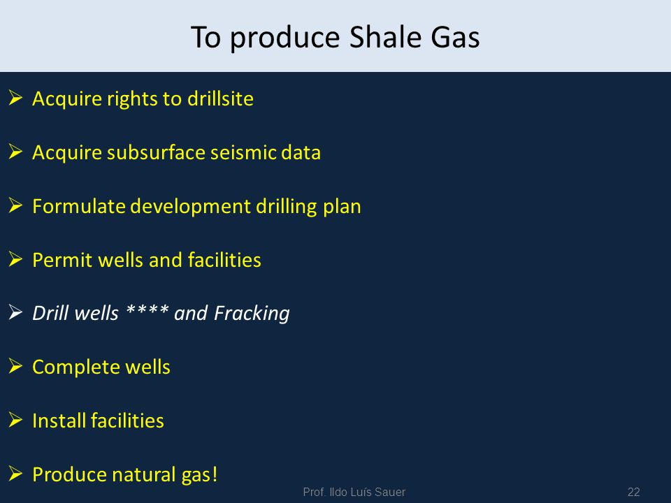 To produce Shale Gas Acquire rights to drillsite