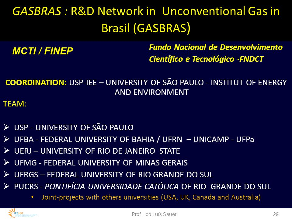 GASBRAS : R&D Network in Unconventional Gas in Brasil (GASBRAS)