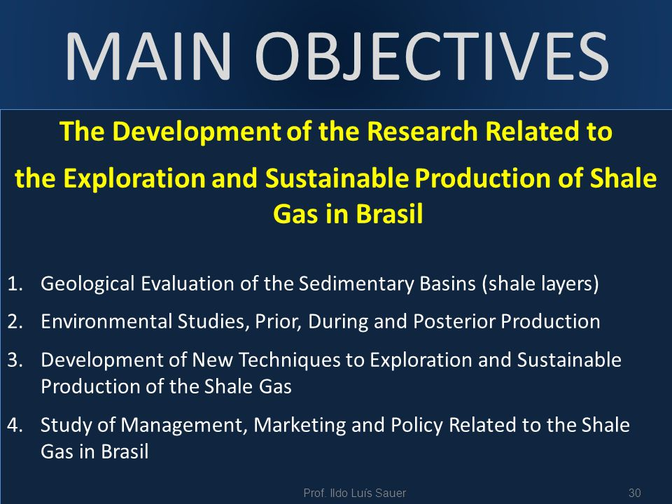 MAIN OBJECTIVES The Development of the Research Related to