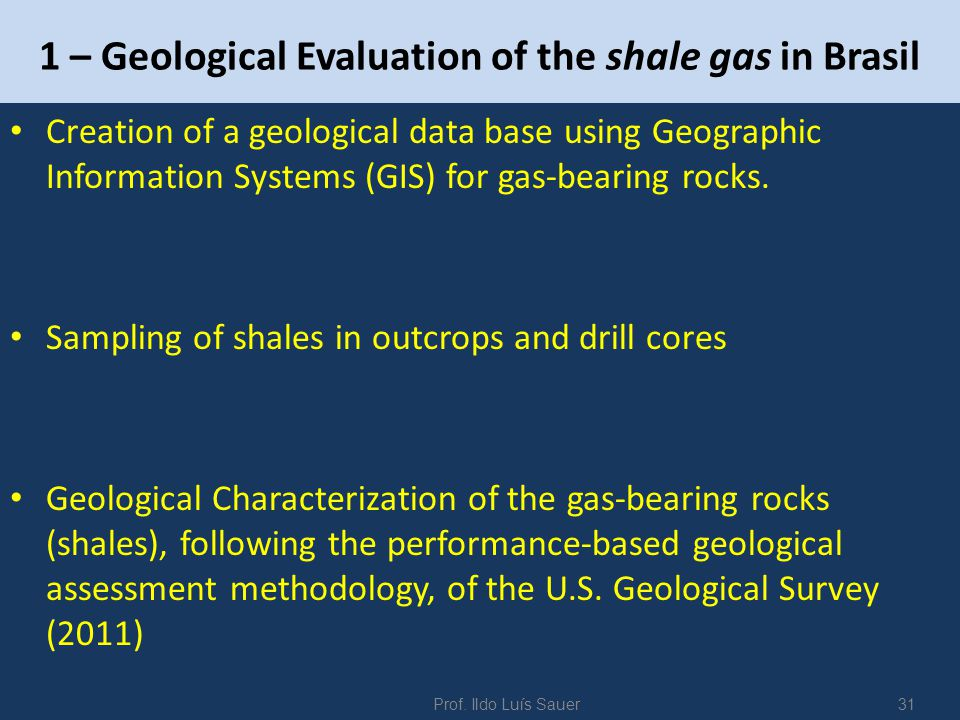 1 – Geological Evaluation of the shale gas in Brasil