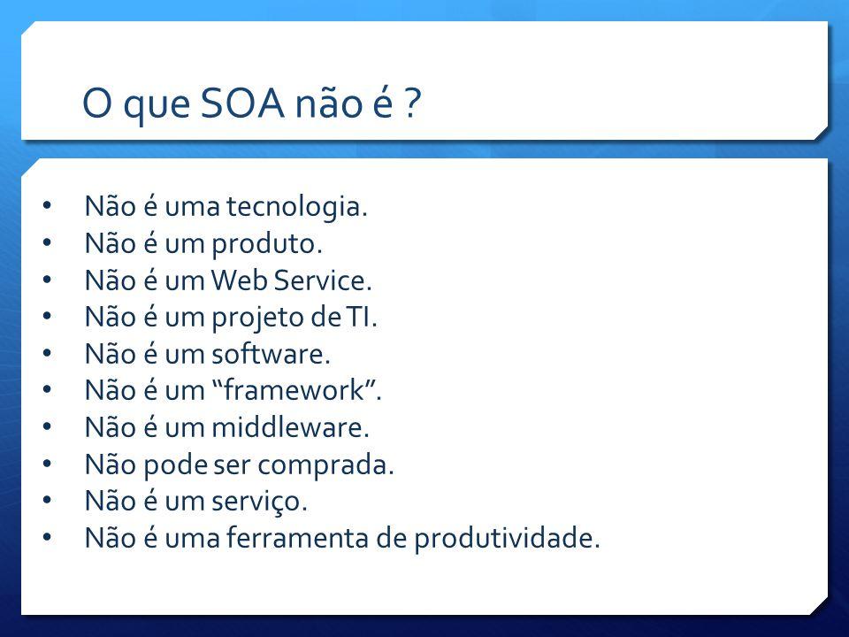 O que SOA não é Não é uma tecnologia. Não é um produto.