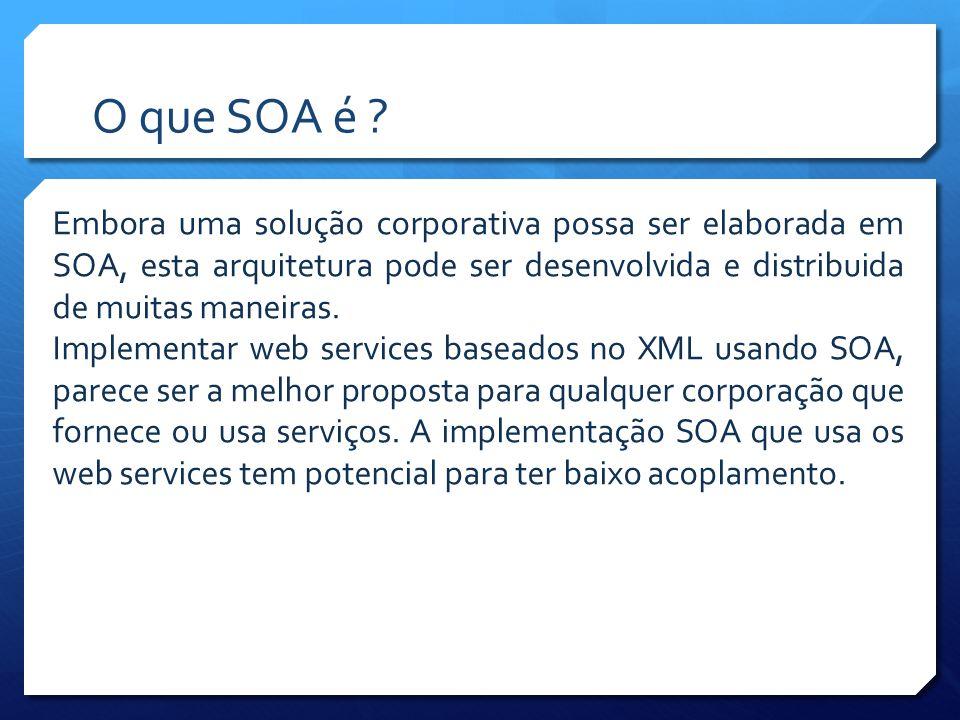 O que SOA é Embora uma solução corporativa possa ser elaborada em SOA, esta arquitetura pode ser desenvolvida e distribuida de muitas maneiras.