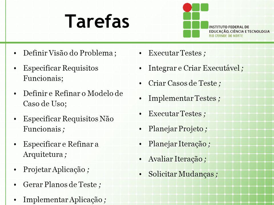 Tarefas Definir Visão do Problema ; Especificar Requisitos Funcionais;