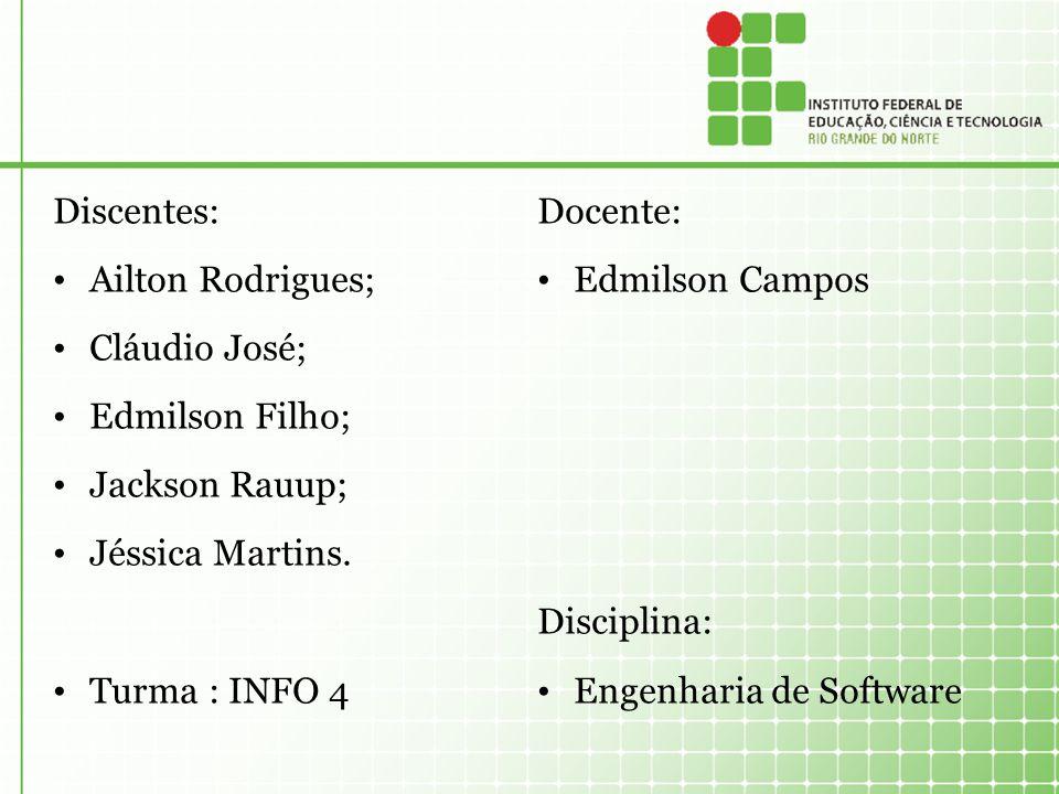 Discentes: Ailton Rodrigues; Cláudio José; Edmilson Filho; Jackson Rauup; Jéssica Martins. Turma : INFO 4.