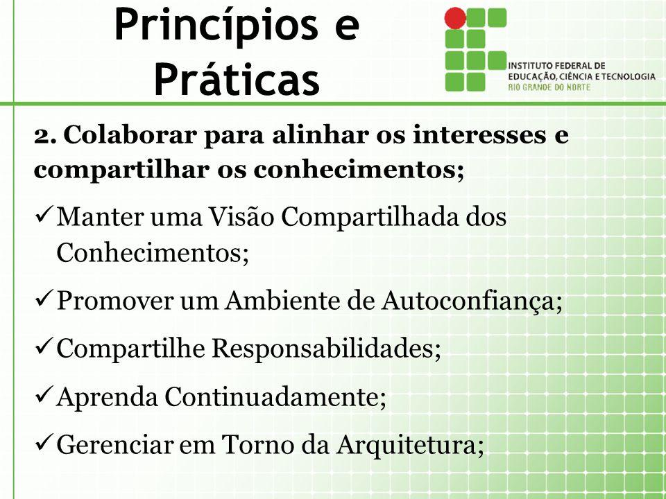 Princípios e Práticas 2. Colaborar para alinhar os interesses e compartilhar os conhecimentos; Manter uma Visão Compartilhada dos Conhecimentos;