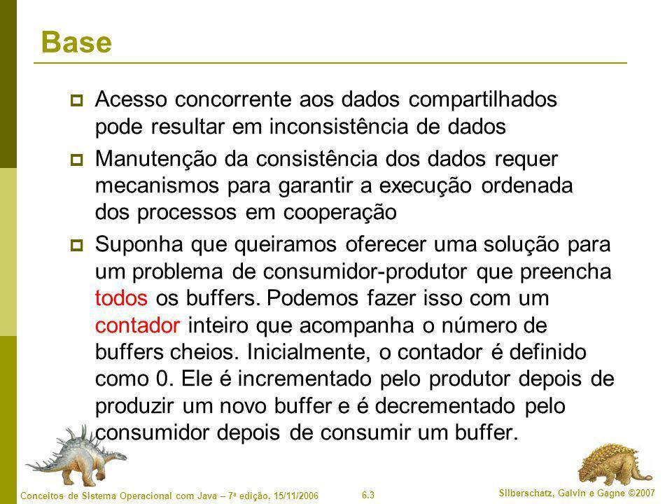 Base Acesso concorrente aos dados compartilhados pode resultar em inconsistência de dados.
