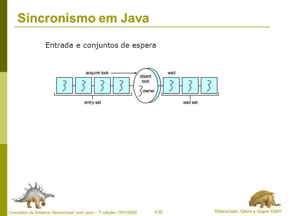 Sincronismo em Java Entrada e conjuntos de espera