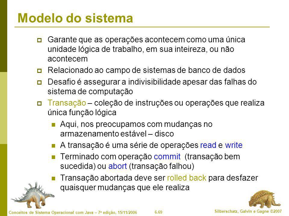Modelo do sistema Garante que as operações acontecem como uma única unidade lógica de trabalho, em sua inteireza, ou não acontecem.