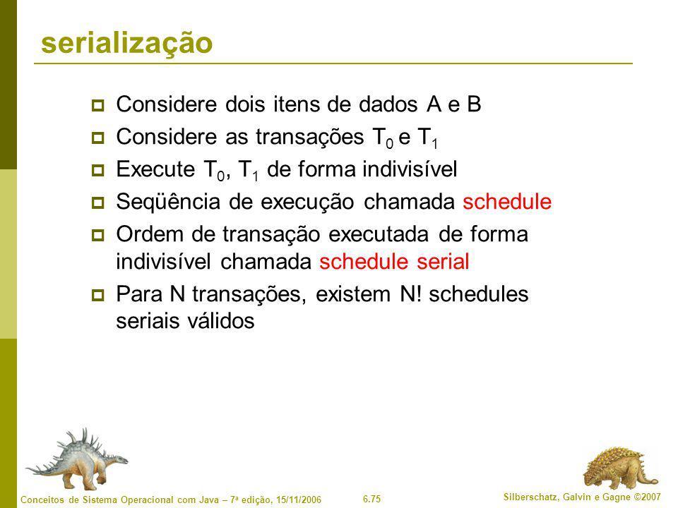 serialização Considere dois itens de dados A e B