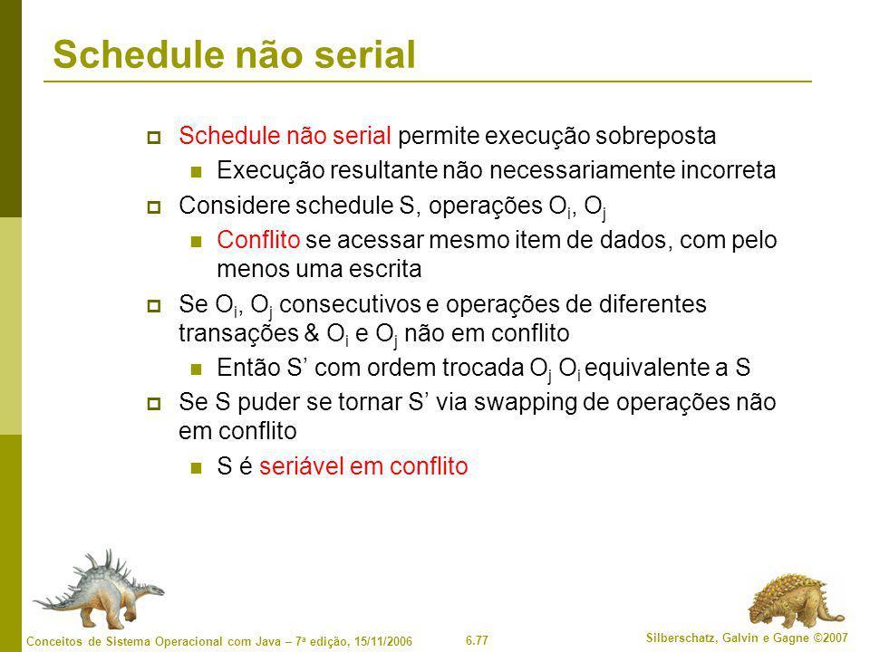 Schedule não serial Schedule não serial permite execução sobreposta