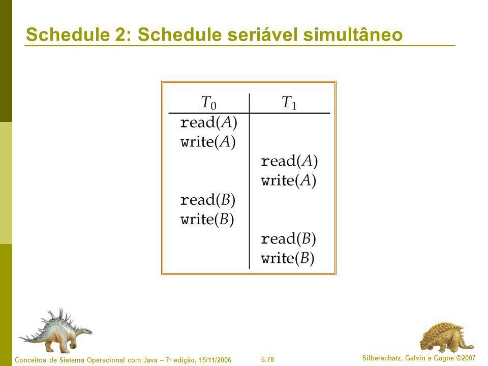 Schedule 2: Schedule seriável simultâneo