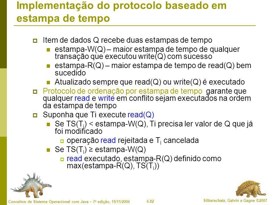 Implementação do protocolo baseado em estampa de tempo